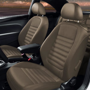 VW Brown Beetle Leather Seat Covers With Stitching