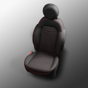Black with Red Stitching Fiat 500X Leather Seats