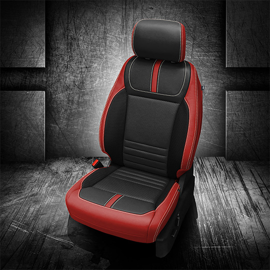Red and Black 2021 Ford F-150 Leather Seats